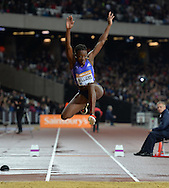 Jamaican Ladies Triple Jumper Kimberley Williams at the Sainsbury's Anniversary Games at the Queen Elizabeth II Olympic Park, London, United Kingdom on 24 July 2015. Photo by Mark Davies.