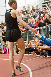 Boston University Terrier Invitational Indoor Track Meet: Galen Rupp, Oregon Project, wins Elite Mile 3:50.92, congratulated by trackside fans