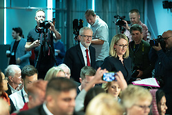 © Licensed to London News Pictures . 02/09/2019. Salford , UK. JEREMY CORBYN and REBECCA LONG-BAILEY enter the room . Members of the shadow cabinet and regional devolved mayors attend a speech and Q&A by Labour Party leader Jeremy Corbyn at The Landing Media City in Salford . Photo credit: Joel Goodman/LNP