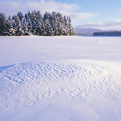 Patterns in the snow on Second Connecticut Lake in Pittsburg, NH.