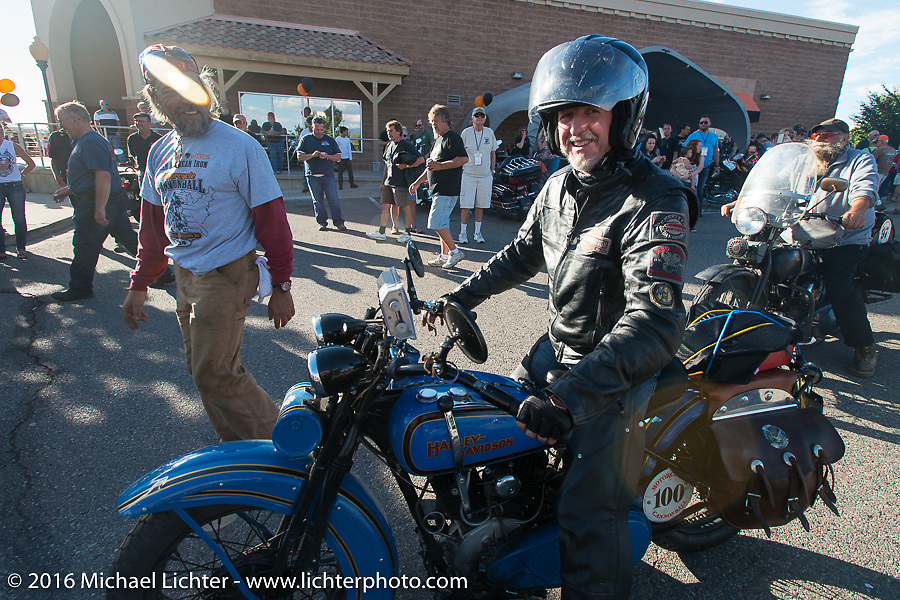 Pat Simmons of the Doobie Brothers arrives at the finish on his 1929 Harley-Davidson JD during Stage 10 (278 miles) of the Motorcycle Cannonball Cross-Country Endurance Run, which on this day ran from Golden to Grand Junction, CO., USA. Monday, September 15, 2014.  Photography ©2014 Michael Lichter.