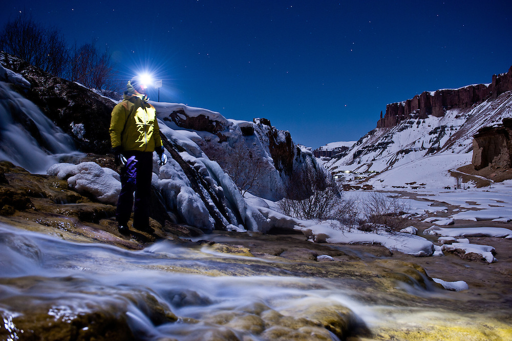 John Trousdale stands amid the cascades at Band-e Amir National Park.