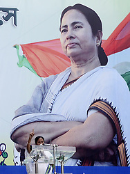 July 21, 2017 - Kolkata, West Bengal, India - Trinamool Congress Supremo Mamata Banerjee addresses her supporter during T.M.C. Martyrs Days rally in Kolkata. Under leadership of West Bengal Chief Minister and All India Trinamool Congress Supremo Mamata Banerjee TMC along with leaders and supporter from all around the country gathers to observe their Martyrs Day rally in front of Victoria House on July 21, 2017 in Kolkata. The 21 July Martyrs Day rally is annual mass rally organized by All India Trinamool Congress to commemorate the 1993 Kolkata firing where 13 people shot by police during the rally organized by Youth Congress under leadership of Mamata Banerjee in demand of Voter Identity Cards. (Credit Image: © Saikat Paul/Pacific Press via ZUMA Wire)