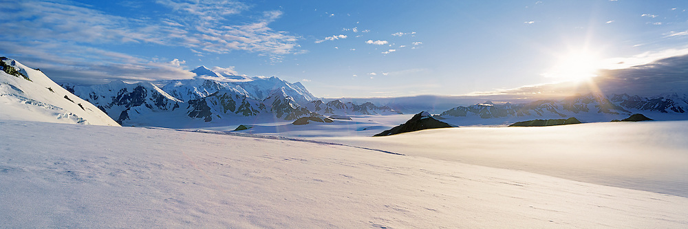 Sunset across Mount Logan and the St. Elias Icefields