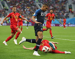 SAINT PETERSBURG, July 10, 2018  Kylian Mbappe (C) of France competes during the 2018 FIFA World Cup semi-final match between France and Belgium in Saint Petersburg, Russia, July 10, 2018. (Credit Image: © Fei Maohua/Xinhua via ZUMA Wire)