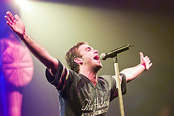 Robbie Williams on stage at the SECC in Glasgow 2000...