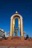 Tadjikistan, Asie centrale, Douchanbé, statue d'Ismail Samani sur la place Dousti, fondateur de la dynastie Samanid// Tajikistan, Central Asia, Douchanbe, Ismail Samani Monument on Dousti Square, founder of the Samanid dynasty