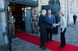 Secretary of Defense Jim Mattis and Danish Minister of Defence Claus Hjort Frederiksen welcome Ursula von der Leyen, Germany's minister of defence, to a Global Coalition on the Defeat of ISIS meeting at Eigtveds Pakhus in Copenhagen, Denmark, May 9, 2017. (DOD photo by U.S. Air Force Staff Sgt. Jette Carr)