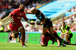 Jack Yeandle of Exeter Chiefs is challenged by Vincent Koch of Saracens - Mandatory by-line: Ryan Hiscott/JMP - 01/06/2019 - RUGBY - Twickenham Stadium - London, England - Exeter Chiefs v Saracens - Gallagher Premiership Rugby Final