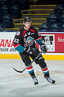 KELOWNA, CANADA - SEPTEMBER 28: Braydyn Chizen #22 of Kelowna Rockets warms up against the Prince George Cougars on September 28, 2016 at Prospera Place in Kelowna, British Columbia, Canada.  (Photo by Marissa Baecker/Shoot the Breeze)  *** Local Caption *** Braydyn Chizen;