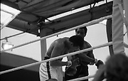 Ali vs Lewis Fight, Croke Park,Dublin.<br /> 1972.<br /> 19.07.1972.<br /> 07.19.1972.<br /> 19th July 1972.<br /> As part of his built up for a World Championship attempt against the current champion, 'Smokin' Joe Frazier,Muhammad Ali fought Al 'Blue' Lewis at Croke Park,Dublin,Ireland. Muhammad Ali won the fight with a TKO when the fight was stopped in the eleventh round.<br /> <br /> Picture shows Ali rocking after a right cross to the head from a determined Lewis.