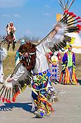 CANADIAN PLAINS INDIANS DANCING AT WANUSKEWIN HERITAGE PARK, SASKATOON, CANADA.