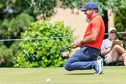 May 4, 2019 - Charlotte, NC, U.S. - CHARLOTTE, NC - MAY 04:  Jhonattan Vegas reacts to jsut missing a long putt on the 3rd green during the third round of the Wells Fargo Championship at Quail Hollow on May 4, 2019 in Charlotte, NC. (Photo by William Howard/Icon Sportswire) (Credit Image: © William Howard/Icon SMI via ZUMA Press)
