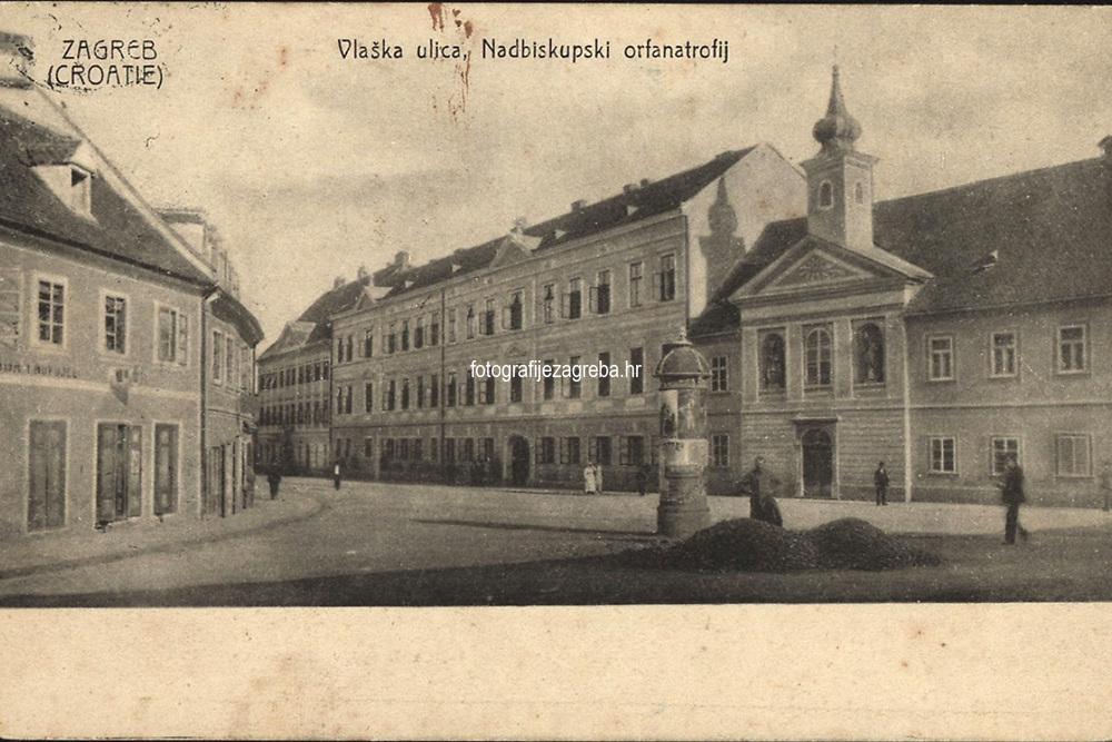 Zagreb (Croatie) : Vlaška ulica. Nadbiskupski orfanatrfij. <br /> <br /> ImpresumZagreb : Rob. Ferd. Auer, [19--].<br /> Materijalni opis1 razglednica : tisak ; 8,9 x 13,9 cm.<br /> SuradnikMosinger, Rudolf(1865.–1918.)<br /> NakladnikNaklada R. F. Auer<br /> Mjesto izdavanjaZagreb<br /> Vrstavizualna građa • razglednice<br /> ZbirkaGrafička zbirka NSK • Zbirka razglednica<br /> Formatimage/jpeg<br /> PredmetZagreb –– Vlaška ulica<br /> SignaturaRZG-VLA-6<br /> Obuhvat(vremenski)20. stoljeće<br /> NapomenaRazglednica je putovala. • Uz lijevi rub na poleđini razglednice otisnut je monogram Rudolfa Mosingera.<br /> PravaJavno dobro<br /> Identifikatori000952482<br /> NBN.HRNBN: urn:nbn:hr:238:696970 <br /> <br /> Izvor: Digitalne zbirke Nacionalne i sveučilišne knjižnice u Zagrebu