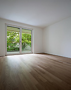 Interior modern apartment, bright room with parquet floor