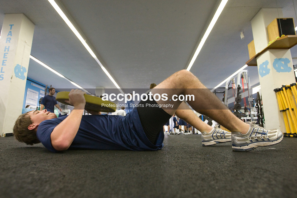 30 October 2007: North Carolina Tar Heels men's lacrosse member Joe Howard works out in the weight room in Chapel Hill, NC.