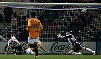 Photo: Paul Thomas/Sportsbeat Images.<br />Preston North End v Hull City. Coca Cola Championship. 04/12/2007.<br /><br />Preston's Lewis Neal (L) scores their third goal.