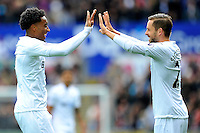 CELE - Swansea City's Leroy Fer celebrates scoring the opening goal<br /> <br /> Photographer Ashley Crowden/CameraSport<br /> <br /> The Premier League - Swansea City v Liverpool  - Saturday 1st October 2016 - Liberty Stadium - Swansea<br /> <br /> World Copyright © 2016 CameraSport. All rights reserved. 43 Linden Ave. Countesthorpe. Leicester. England. LE8 5PG - Tel: +44 (0) 116 277 4147 - admin@camerasport.com - www.camerasport.com