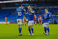 GOAL 1-1 Cardiff City's Kieffer Moore (10) celebrates scoring the equalising goal with his team mates during the EFL Sky Bet Championship match between Cardiff City and Millwall at the Cardiff City Stadium, Cardiff, Wales on 30 January 2021.