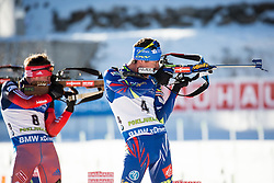 Evgeniy Garanichev (RUS) and Quentin Fillon Maillet (FRA)  during Men 15 km Mass Start at day 4 of IBU Biathlon World Cup 2015/16 Pokljuka, on December 20, 2015 in Rudno polje, Pokljuka, Slovenia. Photo by Vid Ponikvar / Sportida