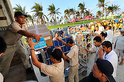 Hurricane Dorian food relief boxes are loaded onto trucks after arriving from the Royal Caribbean's Mariner of the Seas ship in Freeport, Bahamas, on Saturday, September 7, 2019. Photo by Joe Burbank/Orlando Sentinel/TNS/ABACAPRESS.COM