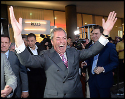 Image ©Licensed to i-Images Picture Agency. 24/06/2016. London, United Kingdom. United Kingdom votes in the EU Referendum. Ukip leader Nigel Farage celebrating at Leave.Eu party as results come through in Leave.eu favour at the Leave.EU Party in Westminster. Picture by Andrew Parsons / i-Images
