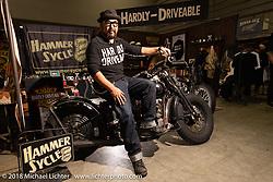 Koji Hamada of Hammer Sycle and Hardly Driveable in his booth at the 27th Annual Mooneyes Yokohama Hot Rod Custom Show 2018. Yokohama, Japan. Sunday, December 2, 2018. Photography ©2018 Michael Lichter.