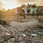 Silampur district, one of the most densely populated and polluted part of Delhi. Open air sewage.