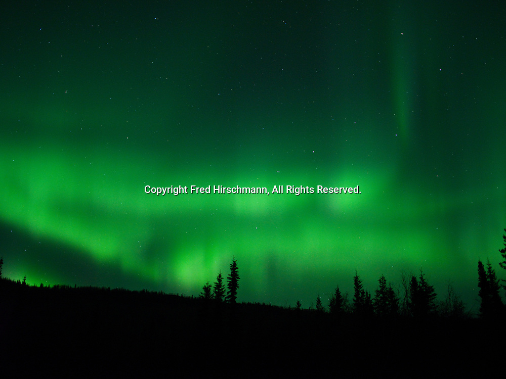 Green Aurora Borealis on night of November 4, 2018, Glacier View, Alaska.  Solar wind creating a Class G2 Geomagnetic Storm arriving from a large coronal hole on the sun.