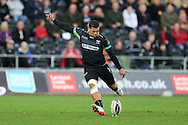Josh Matavesi of the Ospreys kicks a conversion. Guinness Pro12 rugby match, Ospreys v Newport Gwent Dragons at the Liberty Stadium in Swansea, South Wales on 29th October 2016.<br /> pic by Andrew Orchard, Andrew Orchard sports photography.