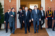 Mario Monti and Mariano Rajoy going to group picture