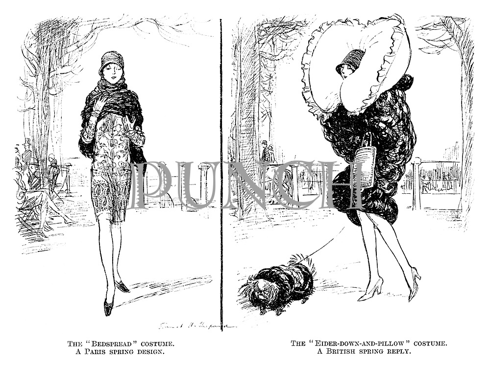 """The """"bedspread"""" costume. A Paris spring design. The """"Eider-down-and-pillow"""" costume. A British spring reply."""