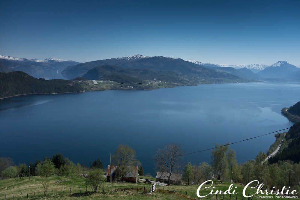 Gloppenfjord, foreground, splits from the main Nordfjord, as seen from above Devik near Sandane, Norway, on May 19, 2013.   (© 2013 Cindi Christie)