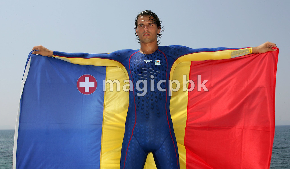 A model presents the swimsuit of the Romanian olympic swimming team during a photocall at the Olympic Games 2004 in Athens, Monday 09 August 2004. (Photo by Patrick B. Kraemer / MAGICPBK)
