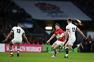 Steff Evans of Wales © tries to break past Owen Farrell (12) and Jonathan Joseph of England. England v Wales, NatWest 6 nations 2018 championship match at Twickenham Stadium in Middlesex, England on Saturday 10th February 2018.<br /> pic by Andrew Orchard, Andrew Orchard sports photography