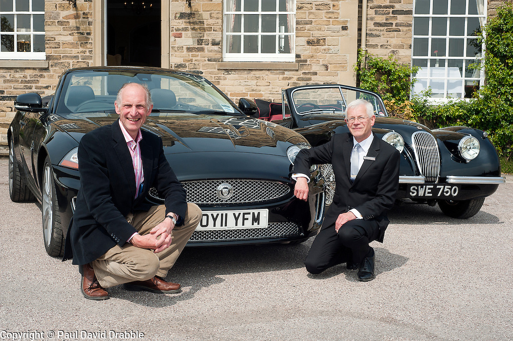 Hatfields Jaguar Ride and Drive event at the Cavendish Hotel Baslow Derbyshire Andrew Jeffery and Former Blue Peter presenter Simon Groom. Modern XK and an original XK.5th May 2011.Images © Paul David Drabble