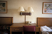 cropped interior of an American motel room
