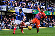 Portsmouth Midfielder, Gareth Evans (26) and Northampton Town Midfielder, Lewis McGugan (37) during the EFL Sky Bet League 1 match between Portsmouth and Northampton Town at Fratton Park, Portsmouth, England on 30 December 2017. Photo by Adam Rivers.