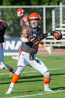 KELOWNA, BC - AUGUST 3:  Quarterback Ethan Newman #6 of Okanagan Sun warms up with the ball against the Kamloops Broncos at the Apple Bowl on August 3, 2019 in Kelowna, Canada. (Photo by Marissa Baecker/Shoot the Breeze)
