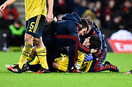 Hector Bellerin (2) of Arsenal being treated after clashing with Jack Simpson (25) of AFC Bournemouth during the The FA Cup match between Bournemouth and Arsenal at the Vitality Stadium, Bournemouth, England on 27 January 2020.