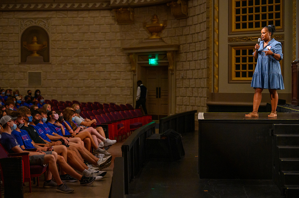 First year students participate in Stampede's Candlelight ceremony, Saturday, August 21, 2021 in the McFarlin Memorial Auditorium on the SMU Campus.