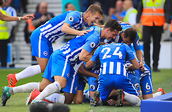 Brighton & Hove Albion's Anthony Knockaert celebrates scoring his side's first goal of the game with team mates during the Premier League match at the AMEX Stadium, Brighton.
