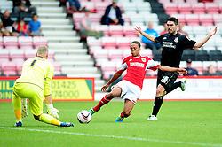 Bristol City's Bobby Reid stretches out to shoot - Photo mandatory by-line: Dougie Allward/JMP - Tel: Mobile: 07966 386802 27/03/2013 - SPORT - FOOTBALL - Goldsands Stadium - Bournemouth -  Bournemouth V Bristol City - Pre Season friendly