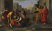 The Death of Sapphira',  1654-1656,  Oil on canvas.  Nicolas Poussin (1594-1665) French painter.  Ananias and his wife Sapphira,  were members of the early Christian Church in Jerusalem.  According to the 'Acts of the Apostles' they lied to the Apostles about the proportion of their wealth they were presenting to the Church.  Ananias died immediately and Sapphira three hours later.