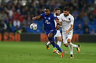 Loic Damour of Cardiff city (l) holds off Mateusz Klich of Leeds Utd (r).  Skybet championship match, Cardiff city v Leeds Utd at the Cardiff city stadium in Cardiff, South Wales on Tuesday 26th September 2017.<br /> pic by Andrew Orchard, Andrew Orchard sports photography.