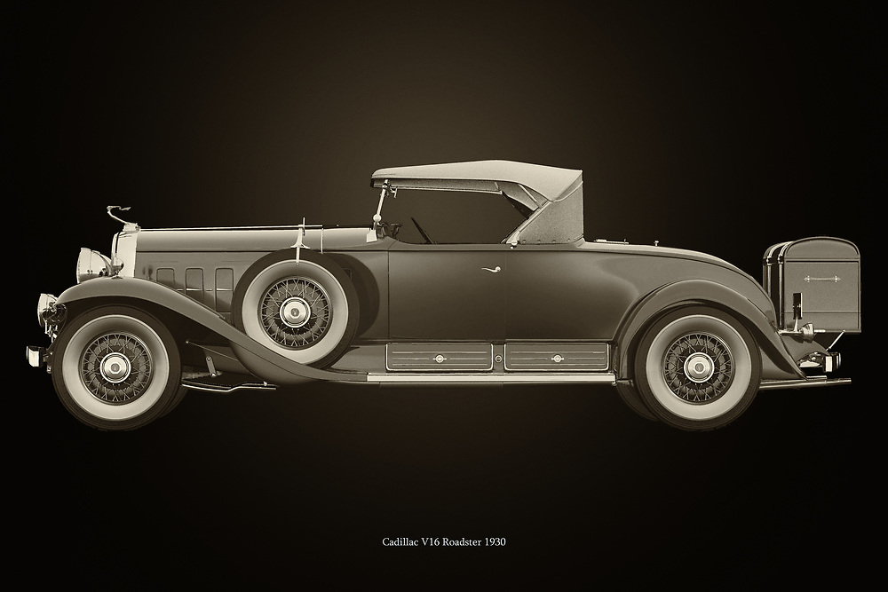 Cadillac V16 Roadster 1930<br /> The Cadillac V16 Roadster 1930 captures the imagination because the 1930s are known for parties and Prohibition in the United States.<br /> <br /> Here a black and white version of the Cadillac V16 Roadster 1930 –<br /> <br /> BUY THIS PRINT AT<br /> <br /> FINE ART AMERICA<br /> ENGLISH<br /> https://janke.pixels.com/featured/cadillac-v16-roadster-1930-black-and-white-jan-keteleer.html<br /> <br /> WADM / OH MY PRINTS<br /> DUTCH / FRENCH / GERMAN<br /> https://www.werkaandemuur.nl/nl/shopwerk/Cadillac-V16-Roadster-1930/742759/132?mediumId=11&size=75x50<br /> <br /> -