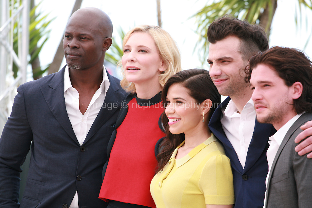 Djimon Hounsou, Cate Blanchett, America Ferrera,  Jay Baruchel and Kit Harington at the photocall for the film How to Train Your Dragon 2 at the 67th Cannes Film Festival, Friday 16th May 2014, Cannes, France.