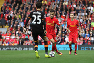 Philippe Coutinho of Liverpool looks to take on Ryan Mason of Hull City. Premier League match, Liverpool v Hull City at the Anfield stadium in Liverpool, Merseyside on Saturday 24th September 2016.<br /> pic by Chris Stading, Andrew Orchard sports photography.
