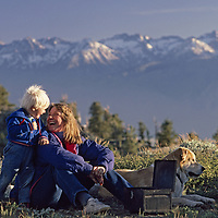 White Mountains, Sierra Nevada Mountains, California.A mother and son picnic above Owens Valley and the Sierra Nevadas.