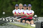 Henley on Thames, United kingdom, Women's Quadruple  Sculls  Marlow RC (Red and Black)and Leander RC  vs Henley RC (Blue)<br /> GBR Crew  bow, Elise Laverick, Sarah Winckless, Kate Grainger and Alison Mowbray.  Annual 2002 Henley Royal Regatta, Henley Reach, River Thames, England, [Mandatory Credit: Peter Spurrier/Intersport Images] 20020703 Henley Royal Regatta, Henley, Great Britain
